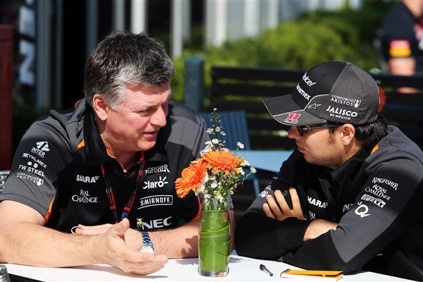 Otmar Szafnauer, Sahara Force India COO with Checo Perez