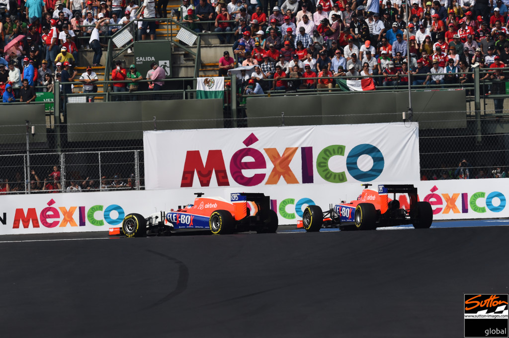 Will Stevens and Alexander Rossi at the 2015 Mexican Grand Prix Photo: Sutton Images